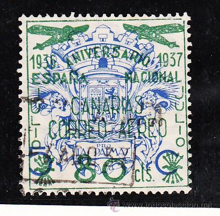 ,,CANARIAS 32 USADA, SOBRECARGADO, (Sellos - España - Guerra Civil - Beneficencia)