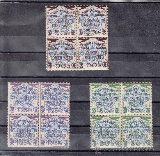 ,,CANARIAS 31/3 EN B4 SIN CHARNELA, SOBRECARGADO, (Sellos - España - Guerra Civil - Beneficencia)