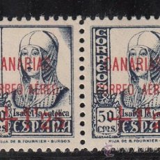 Sellos: ,,CANARIAS 29 PAREJA SIN CHARNELA, SOBRECARGADO, VARIEDAD SELLO DCHA.-CORREO Y AEREO- MAS SEPARADO, . Lote 28570336