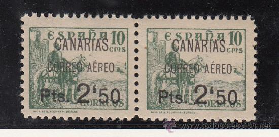 ,,CANARIAS 27 PAREJA SIN CHARNELA, SOBRECARGADO VARIEDAD AMBOS -,- AL REVES EN 2´50 Y IZDA. -R- ROTA (Sellos - España - Guerra Civil - Beneficencia)