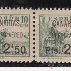 Sellos: ,,CANARIAS 27 PAREJA SIN CHARNELA, SOBRECARGADO VARIEDAD AMBOS -,- AL REVES EN 2´50 Y IZDA. -R- ROTA. Lote 28570501