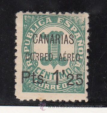 ,,CANARIAS 26 CON CHARNELA, SOBRECARGADO, VARIEDAD -CORREO AEREO- MAS SEPARADO, (Sellos - España - Guerra Civil - Beneficencia)