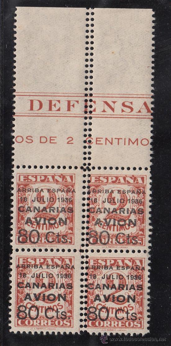,,CANARIAS 21EN B4 CON CHARNELA, VARIEDAD DOBLE PERFORACION CENTRAL VERTICAL CON CABECERA DE PLIEGO (Sellos - España - Guerra Civil - Beneficencia)