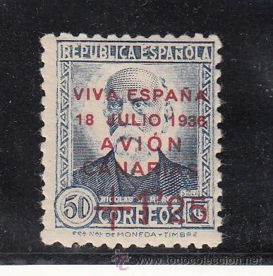 ,,CANARIAS 18 CON CHARNELA, SOBRECARGADO, (Sellos - España - Guerra Civil - Beneficencia)