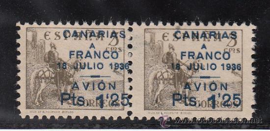 ,,CANARIAS 13 PAREJA IMPRESION PATINADA SIN GOMA SOBRECARGADO VARIEDAD UN SELLO (´) AL REVES EN 1`25 (Sellos - España - Guerra Civil - Beneficencia)