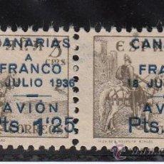 Sellos: ,,CANARIAS 13 PAREJA IMPRESION PATINADA SIN GOMA SOBRECARGADO VARIEDAD UN SELLO (´) AL REVES EN 1`25. Lote 28582706