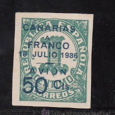 Sellos: ,,CANARIAS 11 SIN GOMA, SOBRECARGADO, VARIEDAD -O- DE AVION ROTA, . Lote 28583346