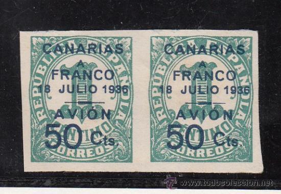 ,,CANARIAS 11 PAREJA SIN GOMA, SOBRECARGADO, (Sellos - España - Guerra Civil - Beneficencia)