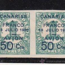 Sellos: ,,CANARIAS 11 PAREJA SIN GOMA, SOBRECARGADO, . Lote 28583435
