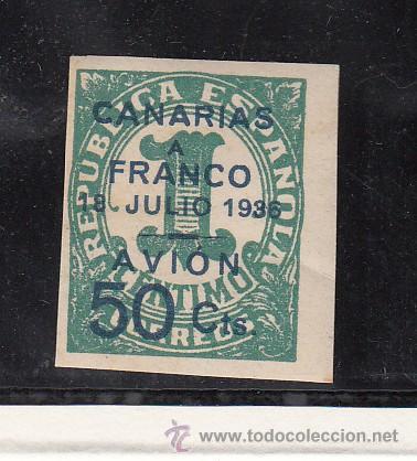 ,,CANARIAS 11 CON CHARNELA, SOBRECARGADO, (Sellos - España - Guerra Civil - Beneficencia)