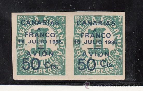 ,,CANARIAS 11 PAREJA SIN CHARNELA, SOBRECARGADO, VARIEDAD SELLO IZDA. -A- DE CANARIAS CON ACENTO, (Sellos - España - Guerra Civil - Beneficencia)