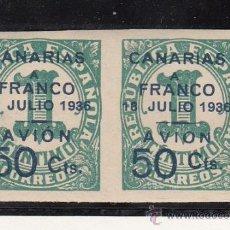 Sellos: ,,CANARIAS 11 PAREJA SIN CHARNELA, SOBRECARGADO, VARIEDAD SELLO IZDA. -A- DE CANARIAS CON ACENTO,. Lote 28583611