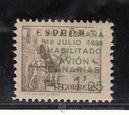 ,,CANARIAS 10R SIN CHARNELA, SOBRECARGADO, VARIEDAD IMPRESION 5 CMS.EN SELLO ESQUINA SUPERIOR DCHA. (Sellos - España - Guerra Civil - Beneficencia)