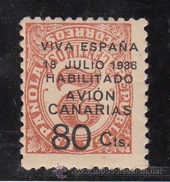 ,,CANARIAS 5AHI CON CHARNELA, SOBRECARGADO, VARIEDAD SOBRECARGA INVERTIDA, (Sellos - España - Guerra Civil - Beneficencia)