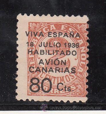 ,,CANARIAS 5A SIN GOMA, SOBRECARGADO, (Sellos - España - Guerra Civil - Beneficencia)