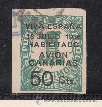 ,,CANARIAS 4A USADA, SOBRECARGADO, (Sellos - España - Guerra Civil - Beneficencia)