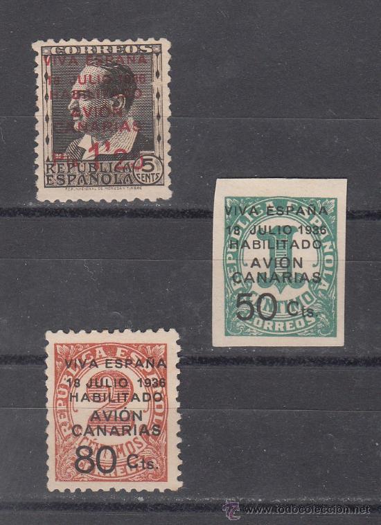 ,,CANARIAS 4A, 5A, 7 SIN GOMA, SOBRECARGADO, (Sellos - España - Guerra Civil - Beneficencia)