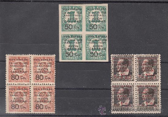 ,,CANARIAS 4A/5A CON CHARNELA, 7 SIN GOMA, EN B4, SOBRECARGADO, (Sellos - España - Guerra Civil - Beneficencia)