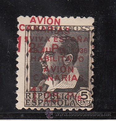 ,,CANARIAS 6AHH SIN GOMA, SOBRECARGADO, VARIEDAD DOBLE SOBRECARGA, (Sellos - España - Guerra Civil - Beneficencia)