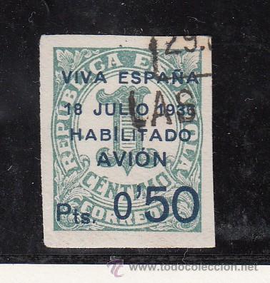 ,,CANARIAS 1 USADA, SOBRECARGADO, VARIEDAD 1ª -I- DE HABILITADO GRANDE (Sellos - España - Guerra Civil - Beneficencia)