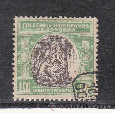 ,,BENEFICENCIA HUERFANOS DE CORREOS BENEFICO 2 USADA, (Sellos - España - Guerra Civil - Beneficencia)