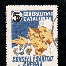 Sellos: ,,LOCAL PARTIDOS 2137 CONSELL DE SANITAT DE GUERRA USADA, PAPEL BLANCO, . Lote 28739621