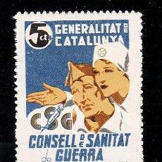 Sellos: ,,LOCAL PARTIDOS 2137 CONSELL DE SANITAT DE GUERRA CON CHARNELA, PAPEL BLANCO. Lote 28739754