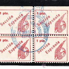 Sellos: ,,LOCAL PARTIDOS 1612 EN B4 SIA SECCION ESPAÑOLA USADA CON MARCA COMPLETA, PAPEL LISO, 1 PTAS . Lote 28753165
