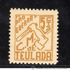 Sellos: ,,LOCAL REPUBLICANO TEULADA (ALICANTE) TIPO 414 SIN CATALOGAR 5 CTS. OCRE SIN CHARNELA, . Lote 28766874