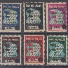 Sellos: ,,LOCAL REPUBLICANO PINS DEL VALLES (BARCELONA) 1051/6 CON CHARNELA, SOBRECARGA NUMEROS DELGADOS . Lote 28781832