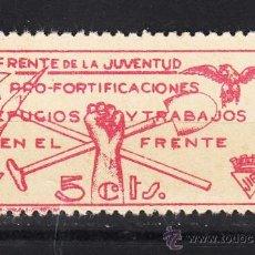 Sellos: ,,LOCAL PARTIDOS 2480A FRENTE DE LA JUVENTUD, JSU, FUE, JIR SIN GOMA, 5 CTS. ROSA CARMIN CLARO, . Lote 28739145