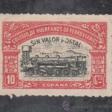 Sellos: ,,LOCAL PARTIDOS .COLEGIO DE HUERFANOS DE FERROVIARIOS SIN GOMA, 10 CTS. NARANJA Y NEGRO, SIN VALOR . Lote 28725889