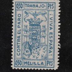 Sellos: ,,LOCAL NACIONALISTA MELILLA B592 SIN CHARNELA, 0.30 PTS. CONTRA EL PARO, . Lote 28893568
