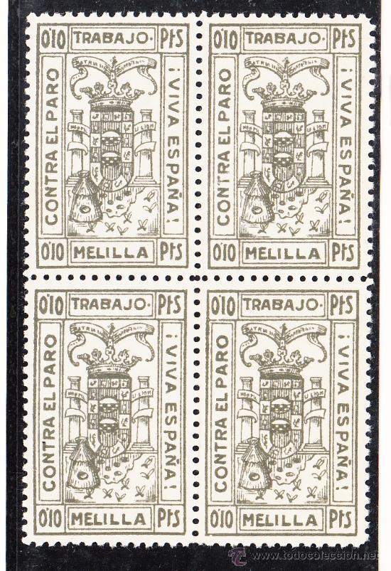 ,,LOCAL NACIONALISTA MELILLA B591 EN B4 SIN CHARNELA, PAPEL DELMEINA, 0.10 PTS. CONTRA EL PARO, (Sellos - España - Guerra Civil - Locales - Nuevos)