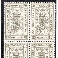 Sellos: ,,LOCAL NACIONALISTA MELILLA B591 EN B4 SIN CHARNELA, PAPEL DELMEINA, 0.10 PTS. CONTRA EL PARO, . Lote 28895028