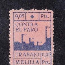 Sellos: ,,LOCAL NACIONALISTA MELILLA 449 SIN GOMA, 0.05 PTS. AZUL SOBRE ROSA CONTRA EL PARO . Lote 28895056