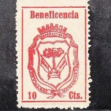 Sellos: ,,LOCAL NACIONALISTA MANZANILLA (HUELVA) B576 PAPEL CREMA CON CHARNELA, 10 CTS. BENEFICENCIA,. Lote 244739355