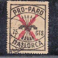 Sellos: ,,LOCAL NACIONALISTA MALLORCA B558 USADA CORREOS, NEGRO SOBRE AMARILLO, 75 CTS. PRO PARO. Lote 28895865