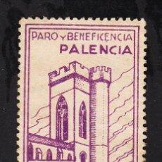 Sellos: ,,LOCAL NACIONALISTA PALENCIA 543 SIN GOMA, 5 CTS. PARO Y BENEFICENCIA, . Lote 28881513