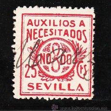 Sellos: ,,LOCAL NACIONALISTA SEVILLA B838 PAPEL BLANCO USADA, 25 CTS. AUXILIOS A NECESITADOS. Lote 28852034