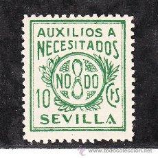 Sellos: ,,LOCAL NACIONALISTA SEVILLA B837 SIN CHARNELA, 10 CTS. AUXILIOS A NECESITADOS. Lote 28852181