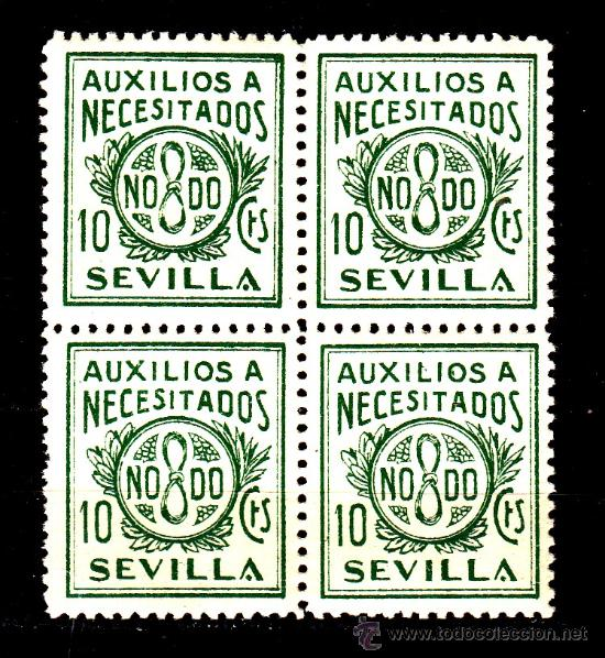 ,,LOCAL NACIONALISTA SEVILLA B837 EN B4 SIN CHARNELA, 10 CTS. AUXILIOS A NECESITADOS (Sellos - España - Guerra Civil - Locales - Nuevos)