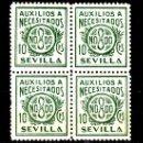 Sellos: ,,LOCAL NACIONALISTA SEVILLA B837 EN B4 SIN CHARNELA, 10 CTS. AUXILIOS A NECESITADOS. Lote 28852185