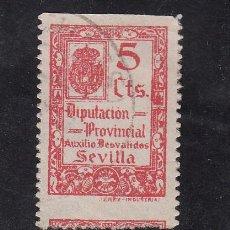 Sellos: ,,LOCAL NACIONALISTA SEVILLA B835 USADA CORREOS, VARIEDAD PERFORADO DESPLAZADO, 5 CTS. DIPUTACION PR. Lote 28852304