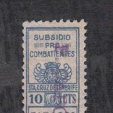 Sellos: ,,LOCAL NACIONALISTA SANTA CRUZ TENERIFE USADA, 10 CTS. SUBSIDIO PRO COMBATIENTES, TABACOS Y PERFUME. Lote 28879648