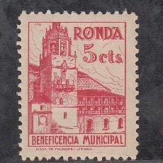 Sellos: ,,LOCAL NACIONALISTA RONDA (MALAGA) B750 SIN CHARNELA, 5 CTS. BENEFICENCIA MUNICIPAL, . Lote 28879806