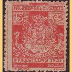 Sellos: SEVILLA, 1921 PRO HERIDOS DE LA GUERRA, 5 CTS ROJO *. Lote 28811390