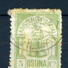 Sellos: ASISTENCIA SOCIAL OSUNA , 5 CTS. GUERRA CIVIL , ORIGINAL , N 3. Lote 28812673