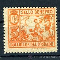 Sellos: SELLO BENEFICO BOLLUELOS DEL CONDADO , 5 CTS. GUERRA CIVIL , ORIGINAL , N 28. Lote 28812947