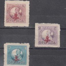 Sellos: ,,LOCAL NACIONALISTA GRANADA FALANGE AYUDA AL CAMARADA SIN CHARNELA, 25 CTS., 50 CTS., 1 PTAS.. Lote 29001398